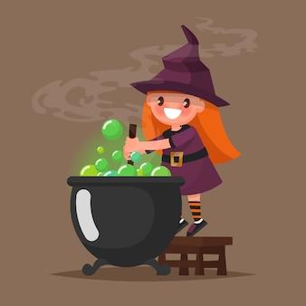 Felice halloween. piccola strega che prepara una pozione. illustrazione di un design piatto