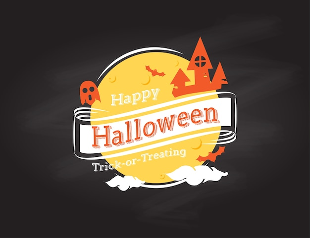 Logo happy halloween su sfondo nero grunge, design vacanza