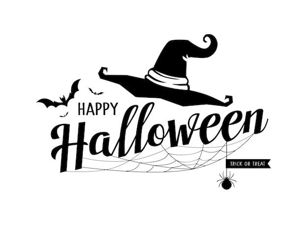 Happy halloween messaggio vettore cappello e ragnatela design isolato su bianco