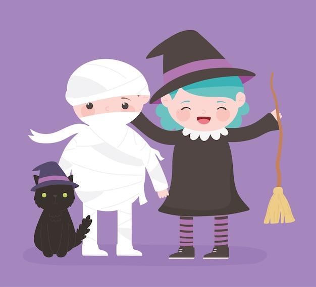 Happy halloween, mummia strega e gatto costume personaggio dolcetto o scherzetto, celebrazione della festa