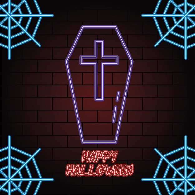 Happy halloween luce al neon della bara illustrazione vettoriale design