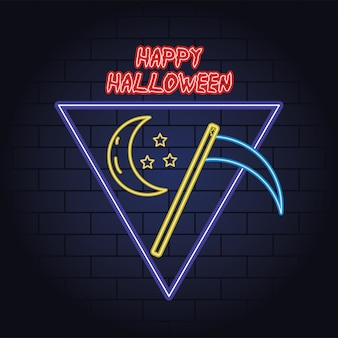 Happy halloween luce al neon della morte falce illustrazione vettoriale design