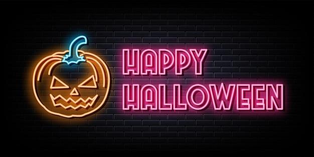 Insegna e simbolo al neon di halloween felice