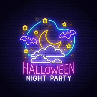 Insegna al neon di buon halloween