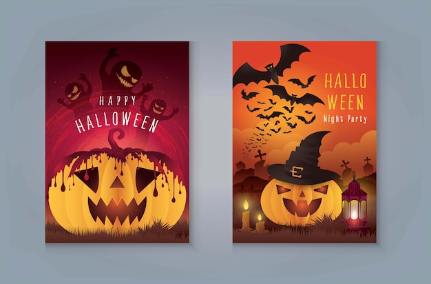 Happy halloween night party, zucca di halloween con sangue e fantasma. zucca con cimitero e mostro pipistrello per carta di invito. zucca con tomba e giungla.