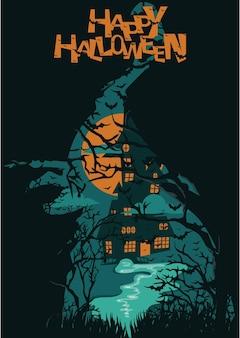 Buon halloween o invito a una festa sfondo con scopa di strega fantasma volante e castello spaventoso