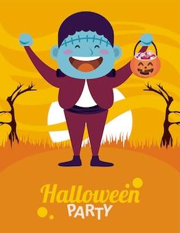Felice festa di halloween con frankenstein e caramelle di zucca nel campo