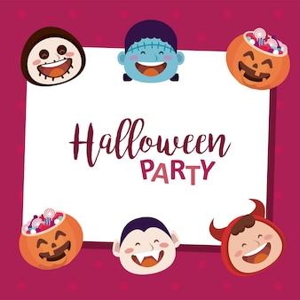 Felice festa di halloween con scritte e personaggi di teste di mostri