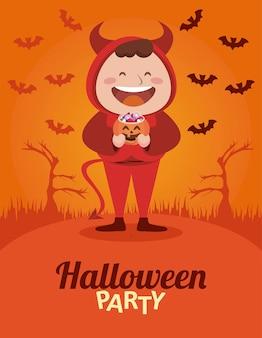 Felice festa di halloween con poco male e pipistrelli che volano