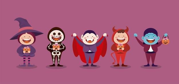 Felice festa di halloween con personaggi di piccoli mostri