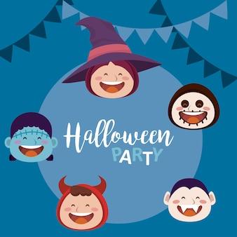 Felice festa di halloween con personaggi e ghirlande di teste di mostri