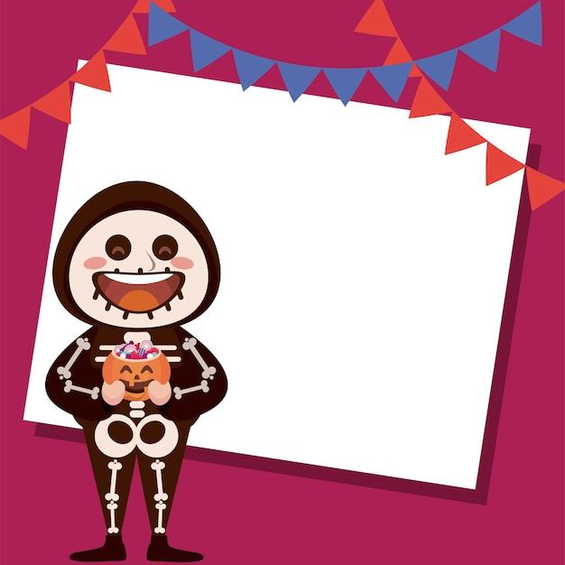 Felice festa di halloween con scheletro e ghirlande appese