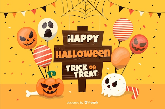 Cartello di halloween felice con sfondo di palloncini Vettore Premium