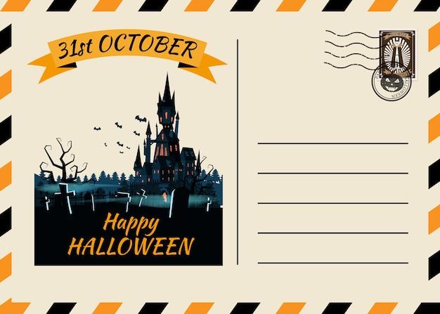 Invito di cartolina di halloween felice modello di cimitero del castello scuro con francobollo