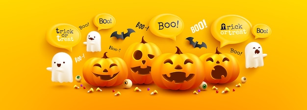 Felice modello di poster e banner di halloween con zucca di halloween carino, fantasmi bianchi spaventosi e pipistrelli su sfondo giallo. sito inquietante,