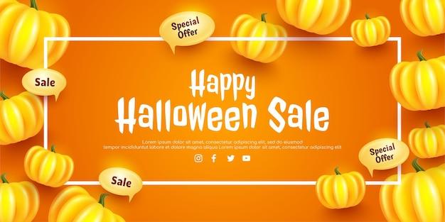 Felice poster e striscione di halloween con cornice quadrata bianca