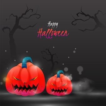 Happy halloween poster design con jack-o-lanterns