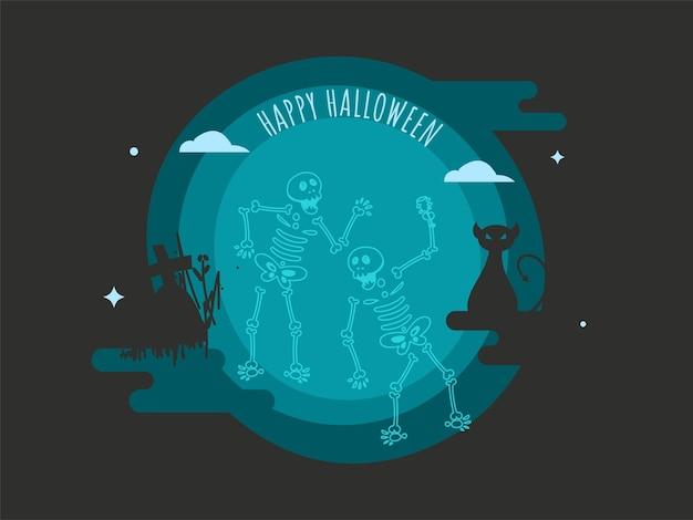 Happy halloween poster design con scheletri che ballano