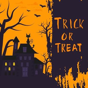 Happy halloween poster design con simboli tradizionali e scritte disegnate a mano. l'illustrazione vettoriale può essere utilizzata per carta da parati, pagine web, biglietti di auguri, inviti e feste. dolcetto o scherzetto.
