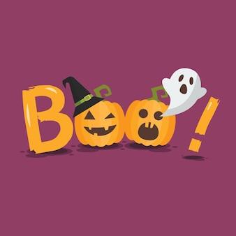 Manifesto di halloween felice. zucche di halloween fa parte della parola boo. illustrazione vettoriale