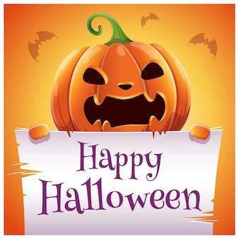 Manifesto di halloween felice con zucca diabolica arrabbiata con pergamena su sfondo arancione. buona festa di halloween. per poster, striscioni, volantini, inviti, cartoline.