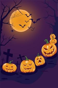Happy halloween poster con zucche e albero sotto il chiaro di luna. su sfondo viola.