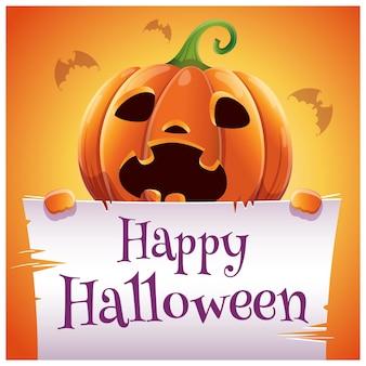 Manifesto di halloween felice con zucca spaventata con pergamena su sfondo arancione. buona festa di halloween. per poster, striscioni, volantini, inviti, cartoline.