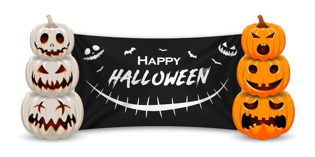 Zucca di halloween felice con bandiera nera banner di promozione vendita halloween zucca arancione