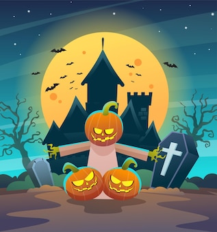 Carattere felice dello spaventapasseri delle zucche di halloween con l'illustrazione di concetto della luna e del castello di notte oscura