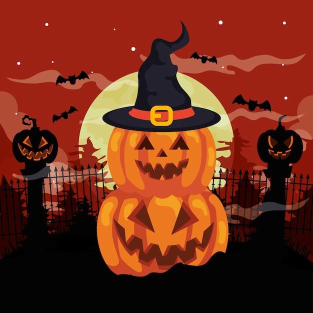 Happy halloween e zucche con cappello strega nella notte oscura