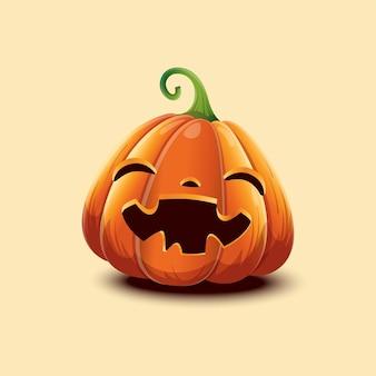Felice halloween. zucca di halloween di vettore realistico. zucca di halloween faccia felice isolata su sfondo chiaro. eps 10