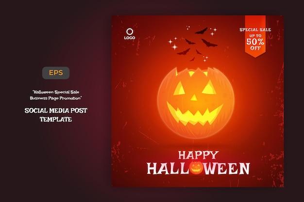 Sfondo di vendita di halloween felice e modello di post sui social media