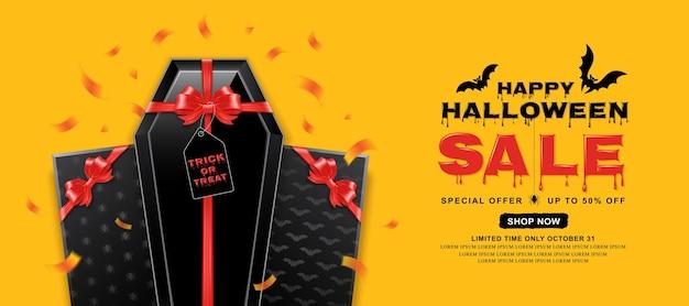 Felice bara di modello di banner di vendita di halloween con fiocco rosso