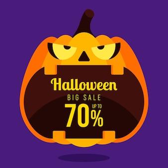 Felice banner di promozione di vendita di halloween e design speciale modello di sconto decorativo con zucca isolato su sfondo viola