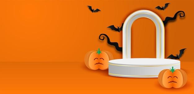 À¹‡podio espositore per prodotti a tema saldi happy halloween. progettare con pipistrello su sfondo arancione. stile artistico di carta. vettore.