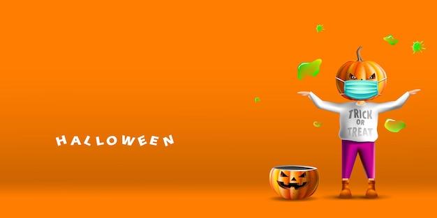 Felice spaventapasseri di halloween con testa di zucca che indossa una maschera facciale da coronavirus o covid-19