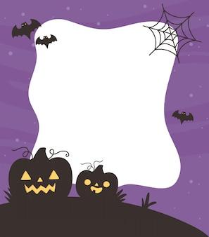 Happy halloween, zucche spaventose pipistrelli web dolcetto o scherzetto sfondo festa