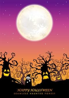 Foresta infestata senza giunte di halloween felice con la luna