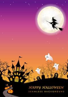 Illustrazione senza giunte felice di halloween con la luna