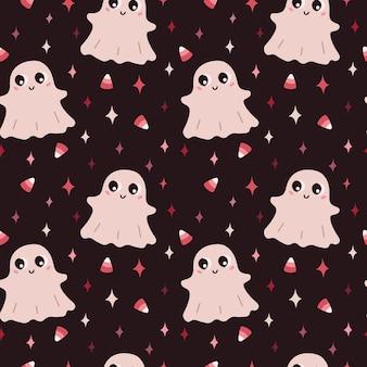 Happy halloween seamless pattern illustrazione con piccole stelle di caramelle rosa fantasma su sfondo marrone