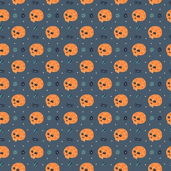 Happy halloween seamless pattern con teschio e ragno.