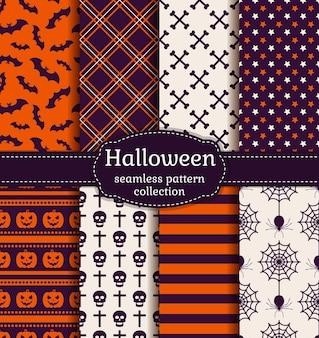Felice halloween! set di modelli senza soluzione di continuità con i simboli tradizionali delle vacanze: teschi, pipistrelli, zucche, ragni e ragnatela. raccolta di sfondi nei colori viola, arancioni e bianchi. illustrazione vettoriale.