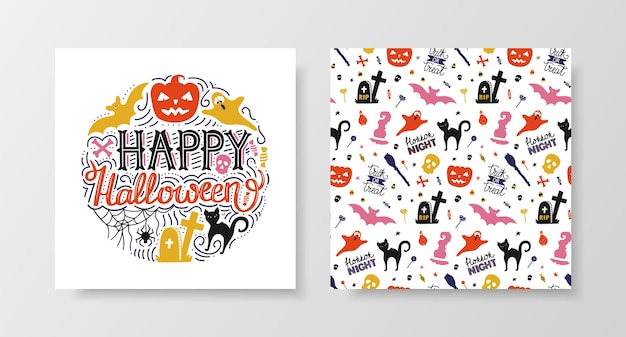 Happy halloween set con scritte e seamless pattern.