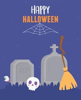 Happy halloween cranio scopa lapidi occhio spettrale e illustrazione di ragnatela