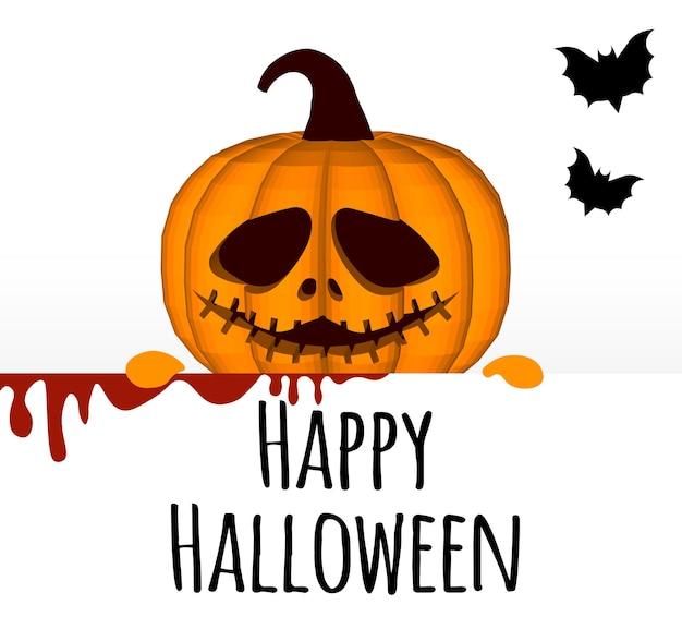 Felice halloween. un modello su uno sfondo bianco con una testa di zucca che fa capolino da dietro il bordo.