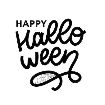 Felice banner di testo di halloween, lettering calligrafia