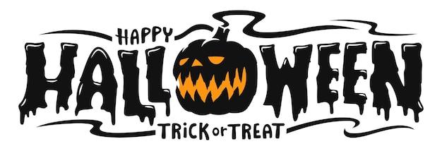 Banner di testo di halloween felice, vector