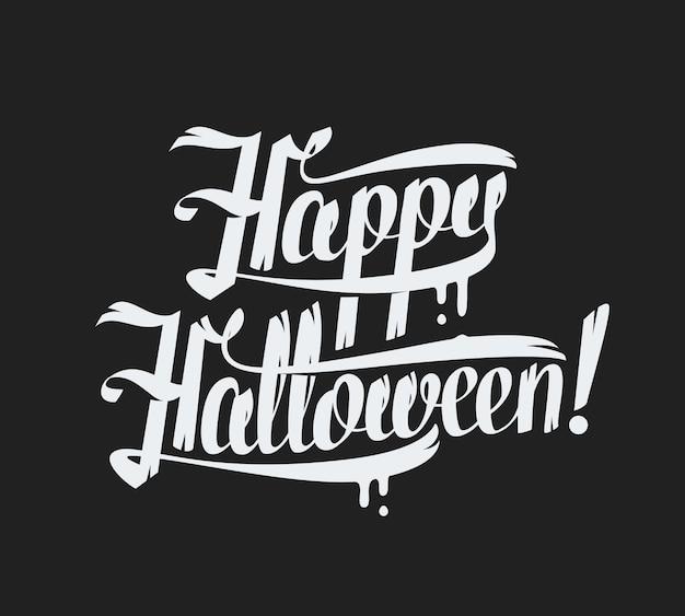 Testo di halloween felice su sfondo nero illustrazione scritta a mano.