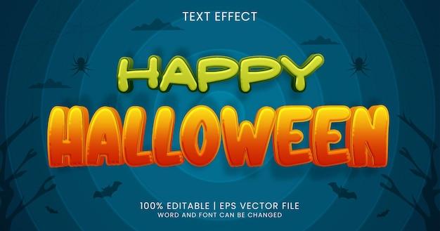 Testo happy halloween, stile effetto testo modificabile dei cartoni animati