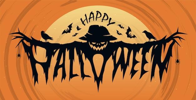 Felice concetto di design del testo di halloween